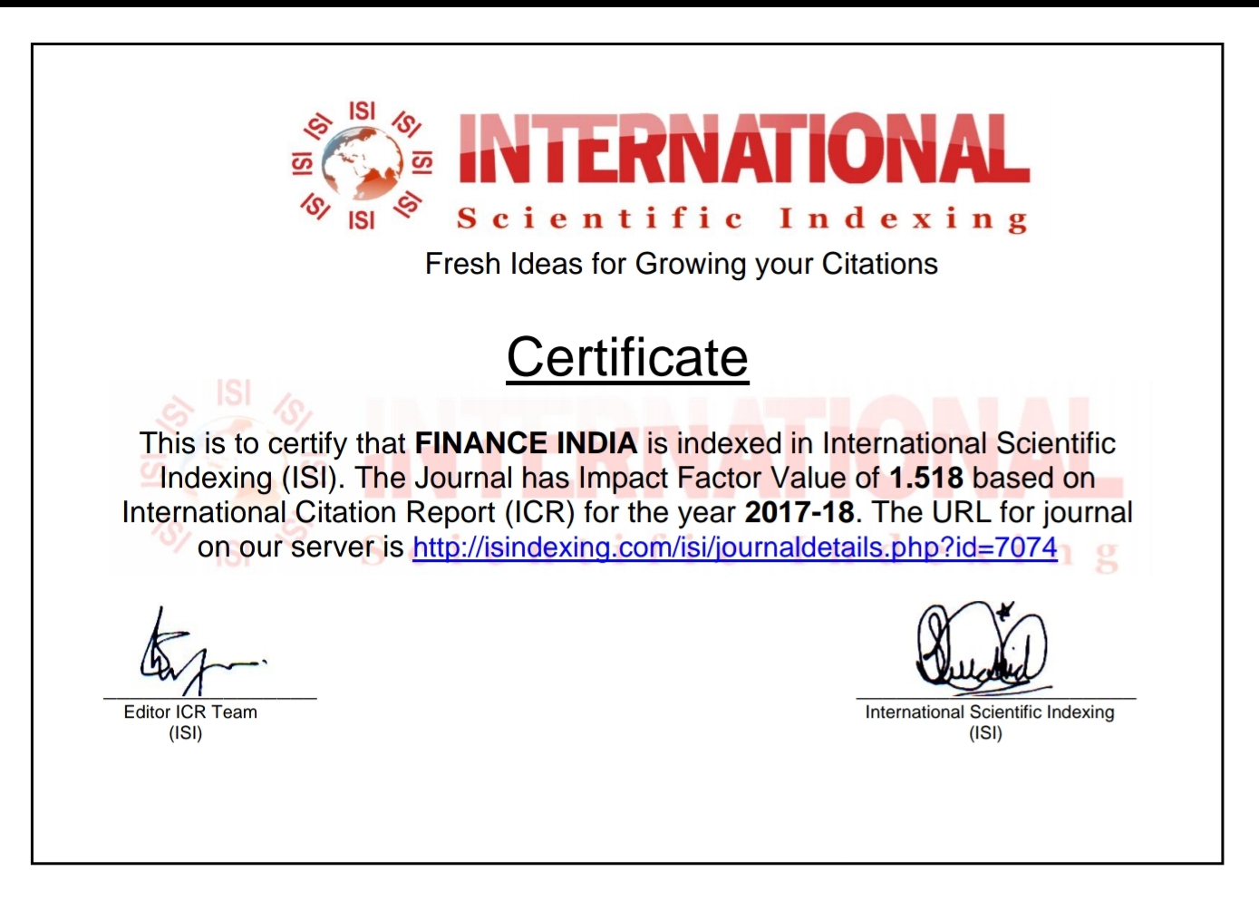 The International Scientific Indexing ISI Indexation